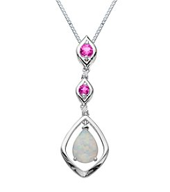 Created Opal & Created Pink Sapphire Pendant Necklace in Sterling Silver