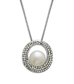 Freshwater Pearl Crystal Pendant Necklace in Sterling Silver