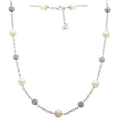 Freshwater Pearl Crystal Tin Cup Necklace in Sterling Silver