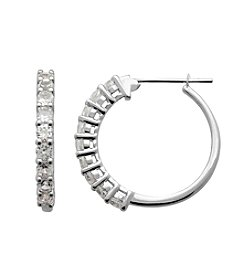 Created White Sapphire Hoop Earrings in Sterling Silver