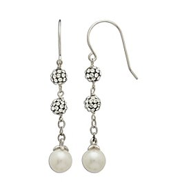 Freshwater Pearl Crystal Drop Earrings in Sterling Silver