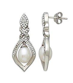 Freshwater Pearl Crystal Earrings in Sterling Silver