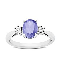 Tanzanite 0.01 ct. t.w. Diamond Ring in Sterling Silver