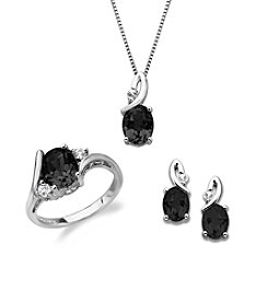 Black Onyx & White Topaz Box Set in Sterling Silver
