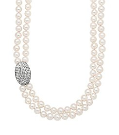 Freshwater Pearl Crystal Double Strand Necklace in Sterling Silver