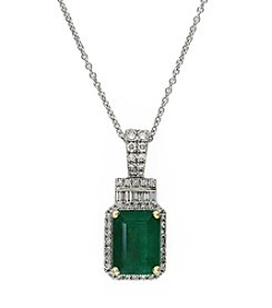 Effy® Emerald & 0.23 ct. t.w. Diamond Pendant Necklace in 14K White Gold