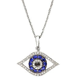 Effy® 0.14 ct. t.w. Diamond & Sapphire Evil Eye Pendant Necklace 14K White Gold