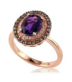 Effy® Amethyst & 0.32 ct. t.w. Diamond Ring in 14K Rose Gold