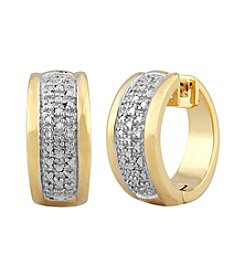 18K Gold Over Bronze Diamond Accent Hoop Earrings