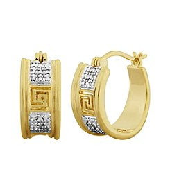 18K Gold Over Bronze Diamond Accent Greek Key Hoop Earrings