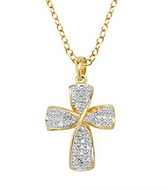 18K Gold Over Brass Diamond Accent Cross Pendant Necklace