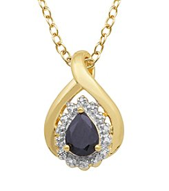 18K Gold Over Brass Sapphire & Diamond Accent Drop Pendant Necklace