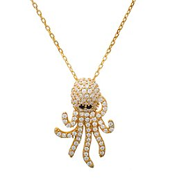 Sterling Silver Gold-Plated Octopus Necklace with Cubic Zirconia
