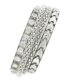 Erica Lyons® Silvertone Metal Bangle Stack