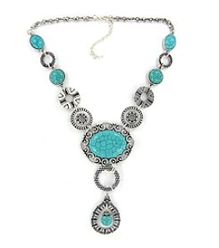 Erica Lyons® Silvertone/Turquoise Necklace