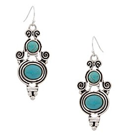 Erica Lyons® Silvertone/Turquoise Earrings