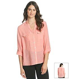 Notations® Mandarin Collar Buttondown Blouse