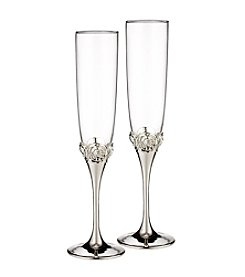 Waterford® Monique Lhuillier® Sunday Rose Silver Set of 2 Toasting Flutes