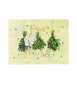 LivingQuarters Fine Herbs Glass Cutting Board
