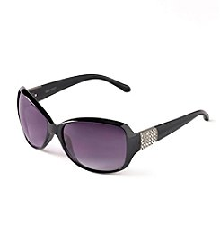 Nine West® Black Metal Rectangle Sunglasses with Rhinestones