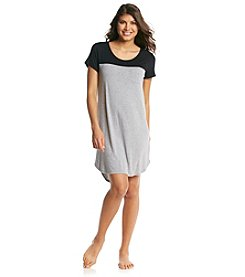 Ellen Tracy® Knit Color Block Sleepshirt - Grey/Black