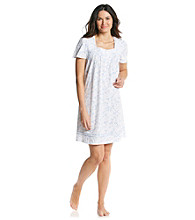 Aria® Short Knit Gown - White/Blue Scroll