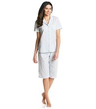 Aria® Knit Clamdigger Pajama Set - White / Blue Mini Floral