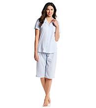Aria® Knit Clamdigger Pajama Set - White/Blue Pinstripe