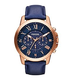 Fossil® Men's Grant Rose Goldtone with Navy Leather Strap Chronograph Watch