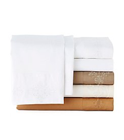 Elite Home Products Savannah 500-Thread Count Cotton Rich Scroll Lace Embroidery 4-pc. Sheet Set