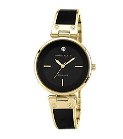 Anne Klein® Goldtone and Black Bangle Watch with Diamond Accented Dial