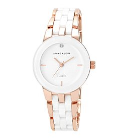 Anne Klein® Rose Goldtone and White Ceramic Bracelet Watch