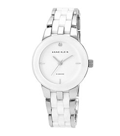 Anne Klein® Silvertone and White Ceramic Bracelet Watch