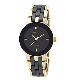 Anne Klein® Goldtone and Black Ceramic Bracelet Watch