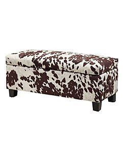 Home Interior Dawson Cowhide Print Upholstered Storage Bench