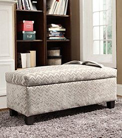 Home Interior Dawson Grey Chevron Print Upholstered Storage Bench