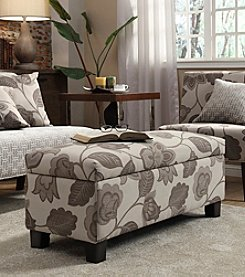 Home Interior Dawson Grey Floral Print Upholstered Storage Bench