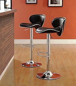 Home Interior Set of 2 Brannan Black Swivel Adjustable Barstool