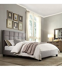 Home Interior Winslowe Grey Linen Upholstered Bed