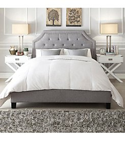Home Interior Victoria Grey Linen Button Tufted Nailhead Platform Bed