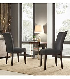 Home Interior Set of 2 Kirkwood Dark Grey Parson Side Chairs