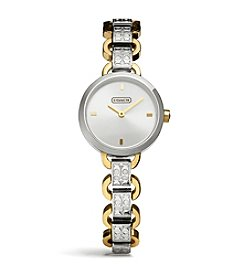 COACH CARRIE TWO TONE ETCHED LINK BRACELET WATCH