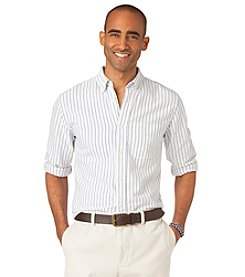 Chaps® Men's White Long Sleeve 'Bengal' Striped Buttondown Shirt