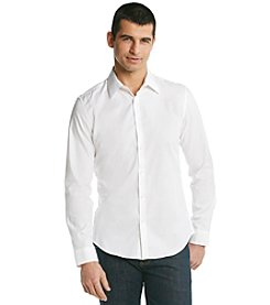 Calvin Klein Men's White Long Sleeve Chambray Button-Down Shirt