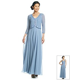 J Kara® Beaded Trim Flare Jacket Dress