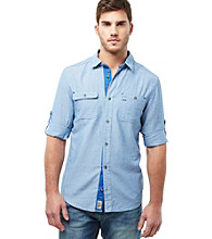Buffalo by David Bitton Men's Bronson Combo Blue Long Sleeve Flap-Pocket Buttondown Shirt
