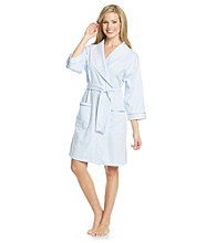 Aria® Short Knit Wrap Robe - Blue/White Pinstripe