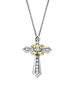 0.10 ct. t.w. Diamond Cross Pendant Necklace in Sterling Silver/14K