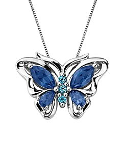 Created Ceylon Sapphire & Blue Topaz Butterfly Pendant Necklace in Sterling Silver