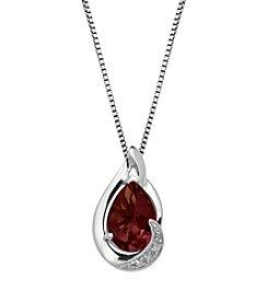 Garnet Pear Shaped Pendant in Sterling Silver